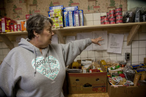 Vicki Holbrook, co-director of the Letcher County Food Pantry, helps prepare food boxes for the hundred of families served by the ministry. (Kristen Lowry\Kentucky Today)